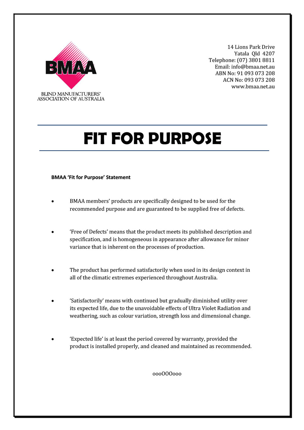 BMAA Guidelines - Fit for Purpose