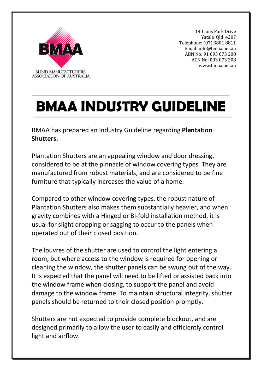 BMAA Guidelines - Plantation Shutters