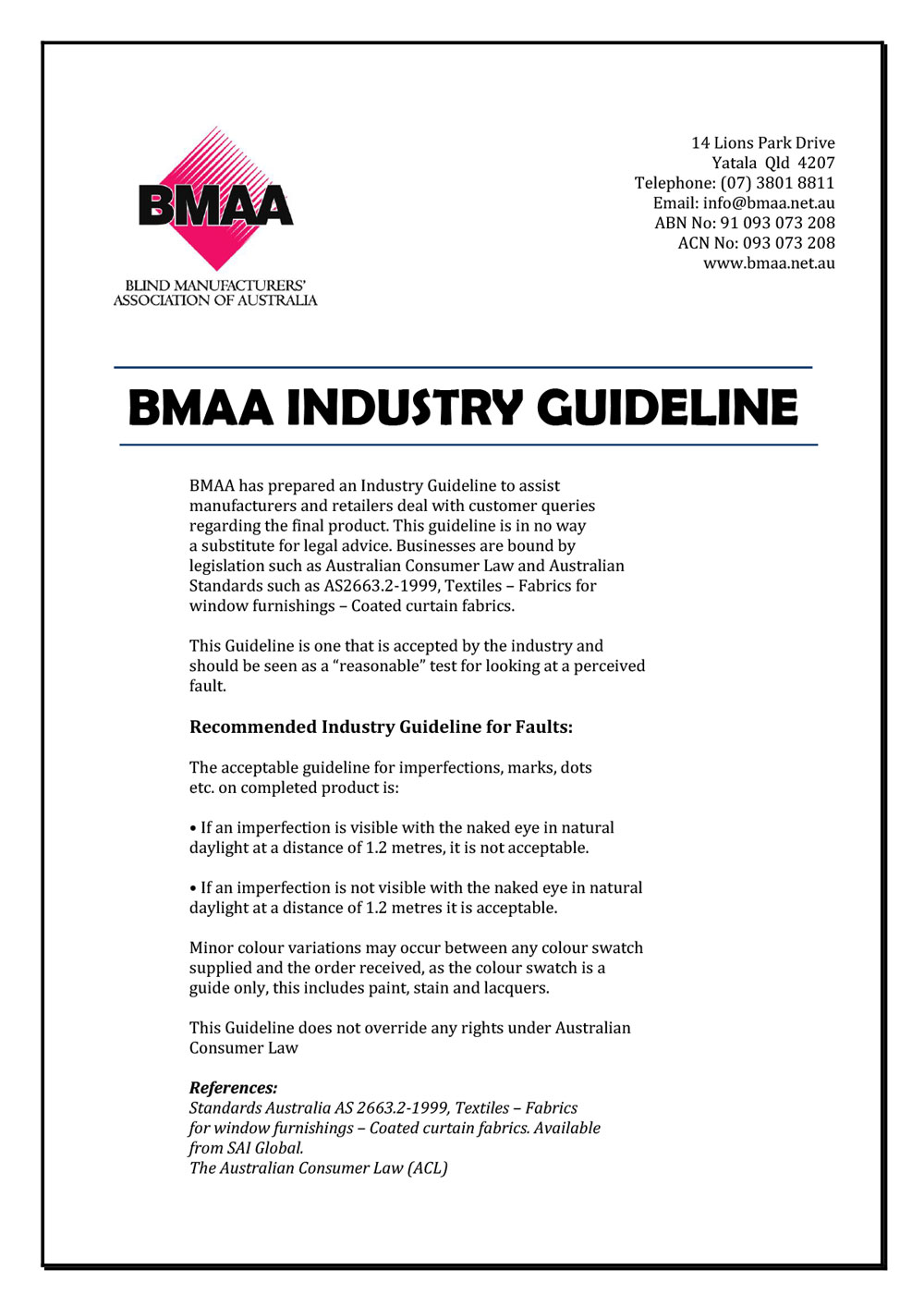 BMAA Guidelines - Recommendations